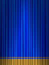 Theatre blue gold curtain close view of a Stock Images