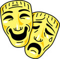 Theatre comedy and tragedy masks Stock Images