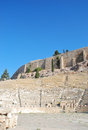 The theatre of dionysus eleuthereus is a major open air and one earliest preserved in athens Royalty Free Stock Photo
