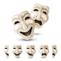 Theatre masks icons over white background Royalty Free Stock Photo