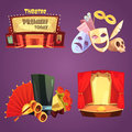 Theatre Retro Cartoon 2x2 Icons Set