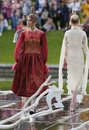 Theatrical fashion show in Catherine park, Pushkin, St. Petersburg, Russia
