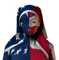 Theatrical image flag suit body art poster Stock Photo