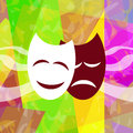 Theatrical masks on bright abstract background Royalty Free Stock Photo
