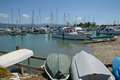 At their moorings sail boats rest the motueka yacht club in new zealand Stock Photo