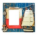 Thematic blue nautical photo frame for sailor. Lighthouse, anchor, chain, sailing ship. Word Navigation on the frame Royalty Free Stock Photo