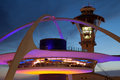Theme building and tower of los angeles international airport at dusk Stock Image