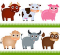 Theme of cute vector Farm Animals Royalty Free Stock Image