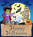 Theme with Happy Halloween banner 4 Stock Photography
