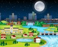 Theme night city park hometown with the moon landscape scene Royalty Free Stock Photo