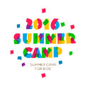 Themed Summer Camp 2016 poster in flat style