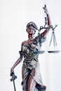 Themis statue or femida bronze goddess holding scales Royalty Free Stock Photos