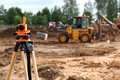 Theodolite at construction site Stock Image