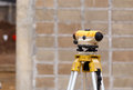 Theodolite excavator for new factory construction a Royalty Free Stock Image