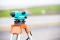 Theodolite land surveying equipment during road works Royalty Free Stock Images