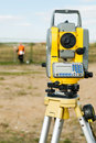 Theodolite on tripod Royalty Free Stock Photo