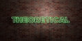 THEORETICAL - fluorescent Neon tube Sign on brickwork - Front view - 3D rendered royalty free stock picture Royalty Free Stock Photo