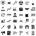 Theoretical icons set, simple style Royalty Free Stock Photo