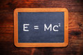 Theory of relativity formula written on the blackboard Royalty Free Stock Photography