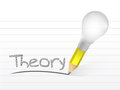 Theory written with a light bulb idea pencil illustration design over notepad paper Stock Photos