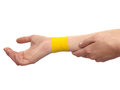 Therapeutic treatment of wrist with tex tape. Stock Image