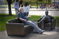 Therapy session with bob newhart a man has a chat a statue of in chicago this statue is a tribute to the actor who played dr Royalty Free Stock Photography