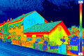 Thermal image on house infrared thermovision showing lack of insulation Royalty Free Stock Photos