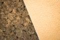 Thermal insulating compressed hemp fiber and compressed cork pan panels close up Stock Photos