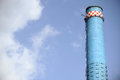 Thermal power plant blue smoke tower Royalty Free Stock Photo