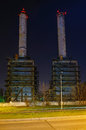 Thermal power station grozavesti bucharest night view of from neighbourhood in romania which is in operation since Royalty Free Stock Photography