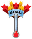 Thermometer goal a with a mark and stars Royalty Free Stock Photos