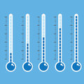 Thermometer icon on blue background vector