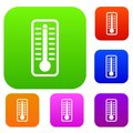 Thermometer indicates high temperature set collection