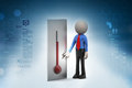 Thermometer with man in color background Stock Photos
