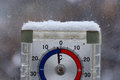 Thermometer outdoors snow winter cold snap Stock Photography