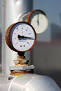Thermometer probe manometer rusty industrial with a to degrees centigrade blurred background Stock Photos