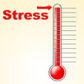 Thermometer stress means tension celsius and thermostat indicating temperature overload pressured Royalty Free Stock Images