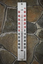 Thermometer on the wall in winter with cold temperature Royalty Free Stock Image
