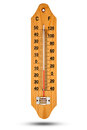 Thermometer on wooden base with celsius scale. Icon for your des Royalty Free Stock Photo