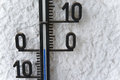 Thermometer at zero an outdoors displaying degrees Royalty Free Stock Image