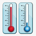 Thermometers hot and cold icons set Stock Photography