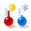Thermometers hot cold set red blue sun snowflake Royalty Free Stock Images