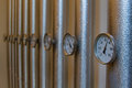Thermometers in pipes Royalty Free Stock Photo