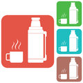 Thermos container icon, camping and hiking equipment