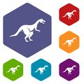 Theropod dinosaur icons set hexagon