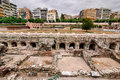 Thessaloniki ancient agora greece ruins of the two terraced roman forum in centre is home to a number of prominent Stock Image