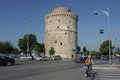 Thessaloniki white tower view from the street Royalty Free Stock Photo