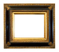 Thick antique gold gilded picture frame cut out white background Royalty Free Stock Photography
