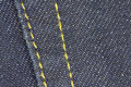 Thick blue stitched jeans fabric