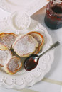 Thick pancakes oserved with jam Royalty Free Stock Photo